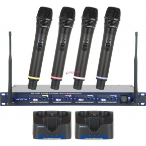 VocoPro UHF-5805 Rechargeable 4-Channel UHF Wireless Microphone System